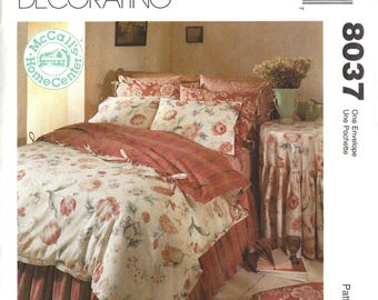 McCalls 8037 Home Decorating Sewing Pattern Bedroom Essentials Feather Bed Cover Tied Duvet Shams Bedskirt Tablecloth Uncut