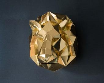 Golden Lion Papercraft KIT | Safari glam decor | Golden birthday | Lion pattern | Safari baby shower | Lion King party | Bohemian decor