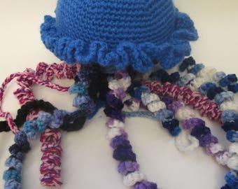 Blue, Jellyfish, Crochet, Great Gifts, Handmade, Nautical, Amigurumi, Jellyfish, Baby Shower Gift, Baby Toy, Jelly, Fish, Stuffed Animal