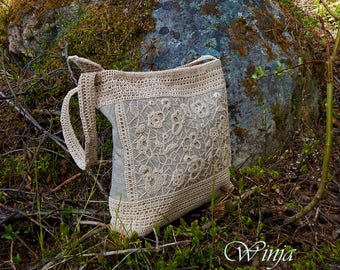 Crochet bag, irish lace knitted bag, textile bag, cotton bag, fabric bag, handknit bag, linen bag, boho bag, women's bag, summer hippie bag