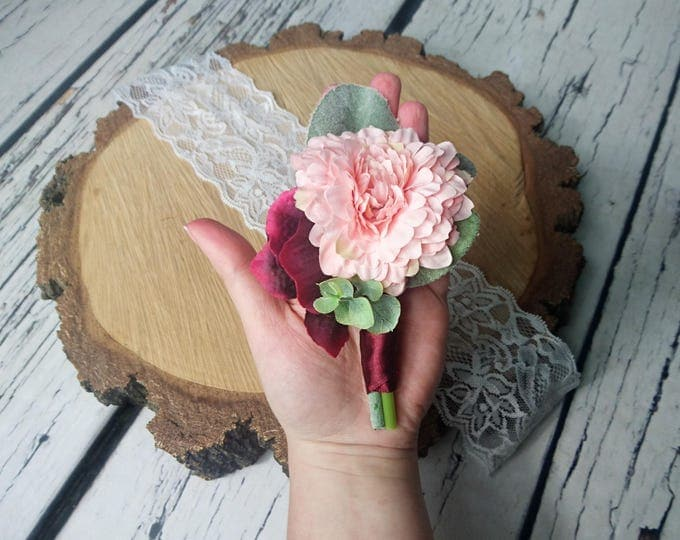Wedding boutonniere realistic silk flowers dusty miller flocked leafs greenery pink peach burgundy marsala wine hydrangea