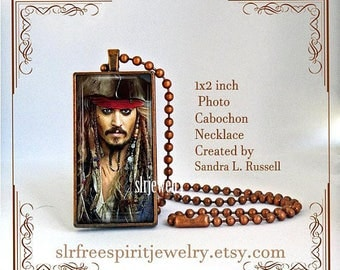 Pirate Jewelry, Jack Sparrow Necklace, Johnny Deep, Movie Star Earrings, Male Actors, Popular Movies, Gift for Women, cabochon jewelry