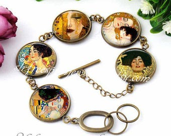 Gustav Klimt Bracelet, Fine Art Photo Jewelry, Famous Paintings, Famous Artist, Photo glass jewelry, Gift for Artist,
