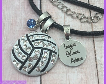 Personalized Volleyball Gift - Volleyball Necklace - Birthstone Necklace - Imagine Believe Achieve, Graduation, Senior Night, Volleyball Mom