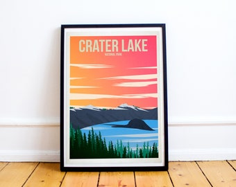Crater Lake National Park - US National Parks - Art Print - Oregon - United States - Volcano - (Available In Many Sizes)
