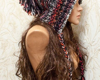 Womens Hat - Colorful Hood with ties - Hood hat- Ear flap Hat Colorful Slouchy Beanie - Knit Accessories
