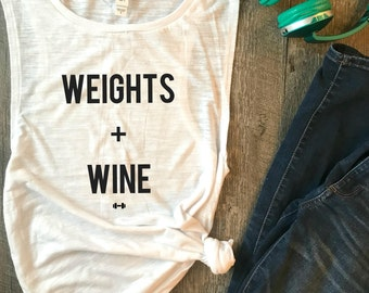 Weights and Wine Workout Tank, Funny Workout Tank, Wine Tank, Funny Gym Tank, Fitness Tank, Womens Workout Tank, Muscle Tank, Workout Tank