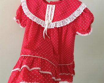 Vintage Red Swiss Dot Dress - Size 3T
