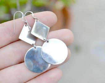 Sterlign Silver Geometric Shape Dangle Earrings, Geometric Sterling Jewelry, Retro Sterling Silver Dangle Earrings, Silver Mirror Earrings