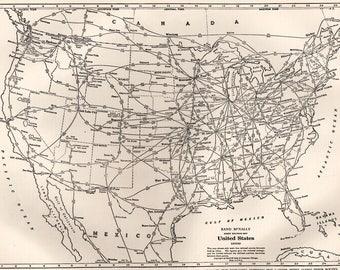 Railroad Map Etsy - Us railroad map 1890