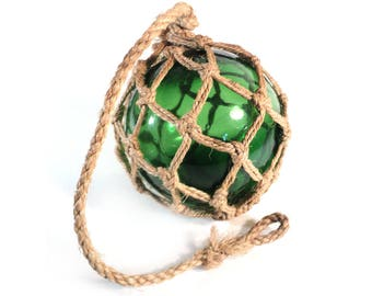 French Green Glass Fishing Float with Rope Netting