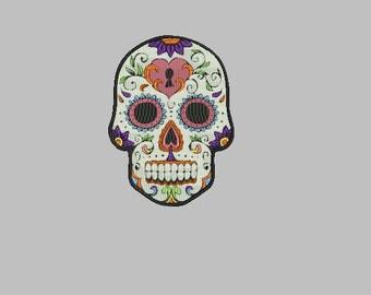 sugar skull machine embroidery design