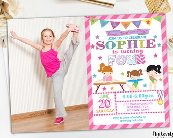 Gymnastic Invitation, Gymnastics Photo Invitation, Gymnastics Pink, Gymnastic Party, Gymnastic Personalized,Gymnastics Birthday  Printable
