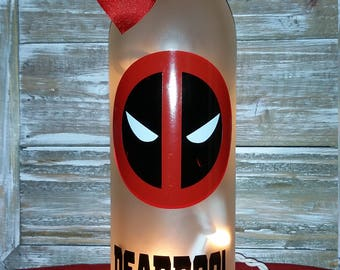 Deadpool Wine Bottle with Lights/Glass/Gift/Lamp/Bar/