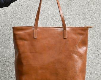 Camel Leather Tote - LEA - Handmade Camel Leather Bag - Camel Leather Tote - Zipped Leather Tote