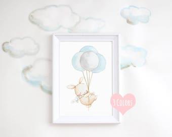 """Nursery Art """"BUNNY WITH BALLOONS"""" Archival Print, Children's Illustration. Kid's Balloon Art."""