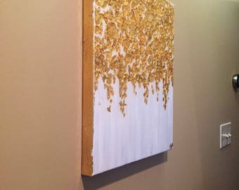 16x20 Gold Leaf Art, Gold Leaf and White Metallic Abstract Painting with  Resin Coat