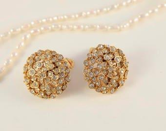 Gold Clip On Earrings Chanel Earrings Clear Crystal Clips Bridal Vintage Jewelry Flower Earring Bezel Set Clip On Wedding Vintage Dress Gift
