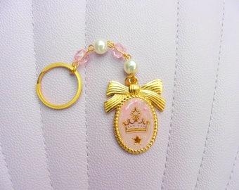 Kawaii Gold Crown and Bow Keychain