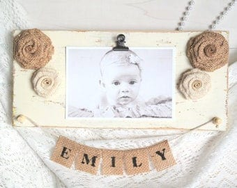Baby Photo Frame. Rustic Wood Photo Display, Wooden Picture Display, Distressed Photo Frame