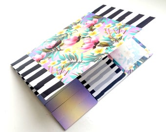 Black, white & floral sticky Notes booklet / book / set