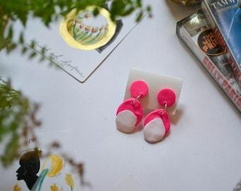 Hot Pink Clay Earrings