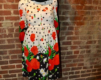 70's Oscar De La Renta Boutique Poppy Dress