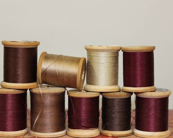 Golden Browns and Merlots Vintage Wooden Spools of Thread