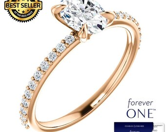 1.25 Carat Oval Moissanite (Forever One) Ring in 14K Rose Gold (with Charles & Colvard authenticity card)