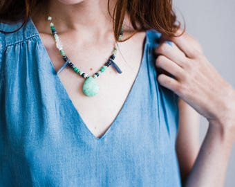Chrysoprase and Blue Kyanite Stone Statement Necklace