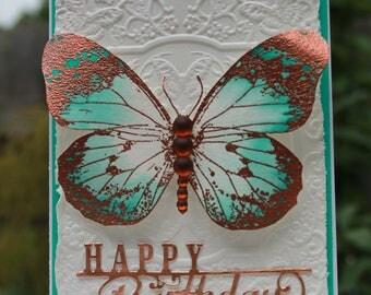 Happy Birthday Butterfly handmade card, OOAK card, Teal & Copper Butterfly Card