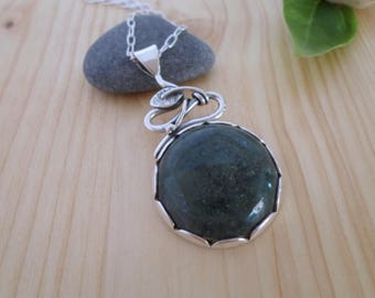 Moss agate sterling silver pendant, woodland jewelry, leaf silver pendant, nature jewelry, silver stone pendant, moss agate jewelry