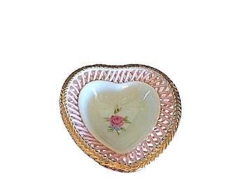 Heart Ring Dish, Trinket Dish, Porcelain Ring Dish, Lattice Porcelain, Jewelry Dish, Vintage Ring Holder, Pink Porcelain, Wedding Gift