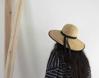90s Studio Ghibli Straw Hat /  Summer Straw Wide Brim Hat with Ribbon / 90s