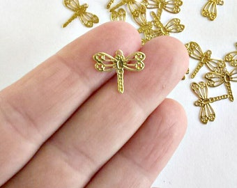 20 Gold Tone Dragonfly Charms - Filigree - #G0018
