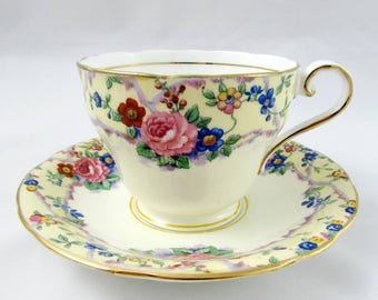 Aynsley Tea Cup and Saucer with Flowers, Vintage Bone China, Aynsley Cup and Saucer