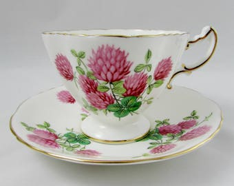 Hammersley Tea Cup and Saucer with Clover, Square Shape, Vintage Bone China