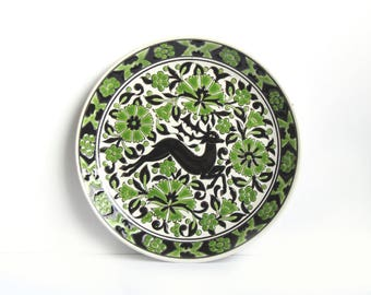 Leaping stag & flowers - Greek traditional plate by Faros Keramik Paradissi Rhodes Greece - beautiful green and black raised relief glaze