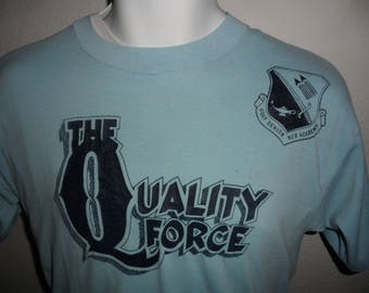 Vintage Original 1980s The Quality Force USAF Senior NCO Academy Selec-T Tee Jays Soft Thin T Shirt XL