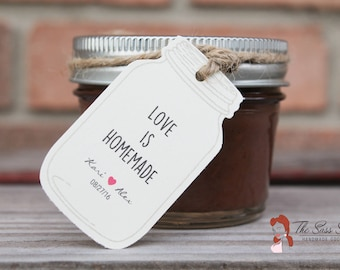 LOVE IS HOMEMADE - Rustic Inspired Mason Jar Shaped Customizable Favor Tag