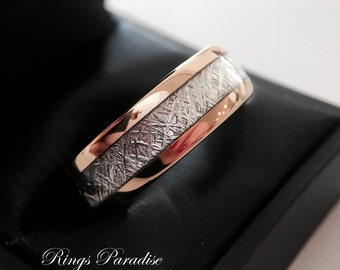 Men and Women Meteorite Inlay Rose Gold Tungsten Wedding Bands, His and Hers Promise Ring, Engagement Rings, Rose Gold Anniversary Rings