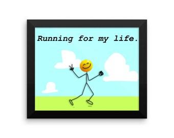 Framed photo paper poster Running art, Running inspiration, funny running wall art