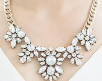 Statement Necklace, Crystal Statement Necklace, Wedding Jewelry, Bridesmaids Necklace, Bridesmaid Gift, Crystal Necklace