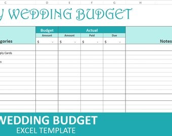 Easy Wedding Budget - Turquoise - Wedding Budget Planner | Excel Wedding Budget Wedding Expenses Tracker | Instant Digital Download