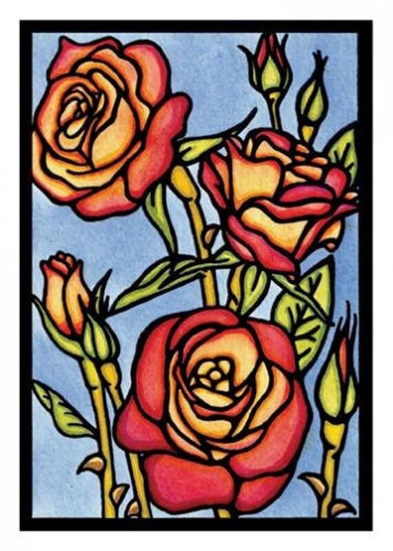 Roses - Single Blank Sarah Angst Greeting Card - Garden