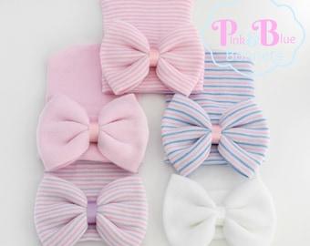 Cute newborn hat with bow, cute hospital hat with bow, baby hat with bow, newborn baby hat with bow