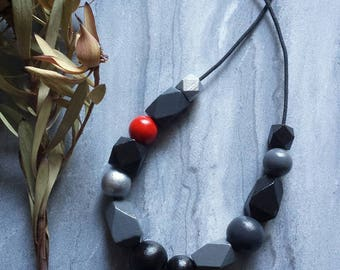 RESERVED Custom Red & Black Hand-painted wooden bead necklace.