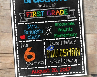 1st Day of Kindergarten Chalkboard Sign, First Day of School, Printable Back to School Sign for Boys, 1st Grade, 2nd Grade, 3rd, Any Grade