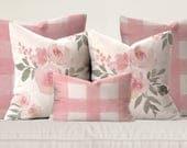 Pastel Pink Floral & Gingham Pillows
