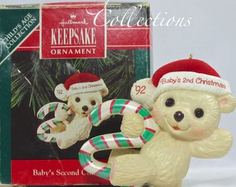 1992 Hallmark Baby's Second Christmas Keepsake Ornament 2nd Teddy Bear Child's Age Collection Candy Cane 2nd Mint in DB Vintage